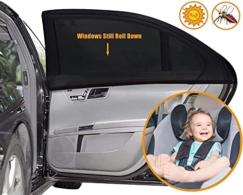 Car Window Shade for Baby – (2 Pack) -21″x14″ Car Seat Sun Shade Cover – Covers and Blocks Out Heat & Sun for Baby or Child – 120GSM & 15S Static Film Sun Shades for Baby or Child