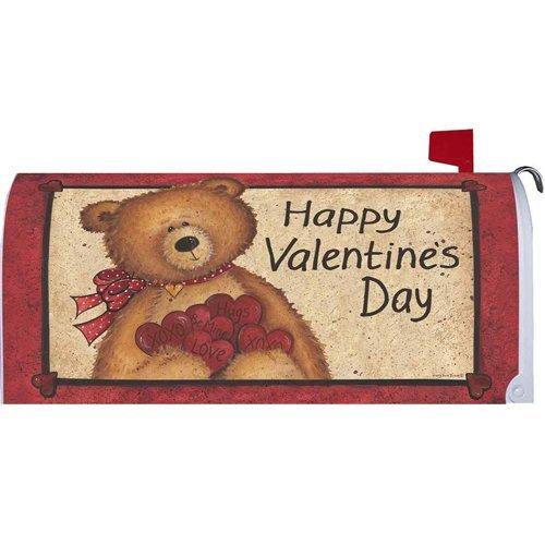 mailboxcover Fuzzy Bearバレンタインの日磁気メールボックスカバーHoliday Hearts Hugs Kisses B078YR3WYS 16572