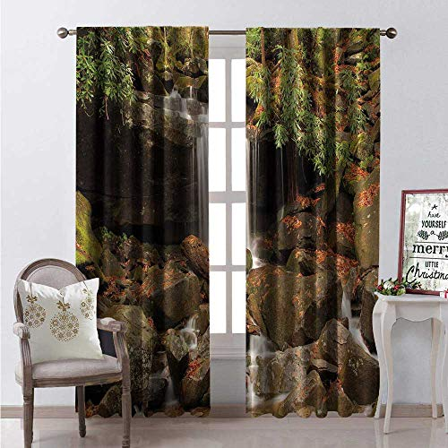 Hengshu Appalachian Trail Room Darkening Wide Curtains Small Waterfalls Along Rainbow Falls Trail Great Smokey Mountains Decor Curtains by W96 x L96 Umber Olive Green