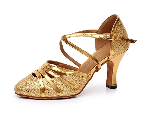 Minitoo QJ6134 Womens Pointed Toe High Heel PU Leather Glitter Salsa Tango Ballroom Latin Strappy Dance Pumps Gold 926AgHY