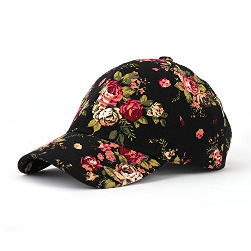 JOOWEN Floral Print Baseball Cap Adjustable 101% Cotton Canvas Dad Hat Hats for Women (Floral-Black) (Pony Floral Ball)