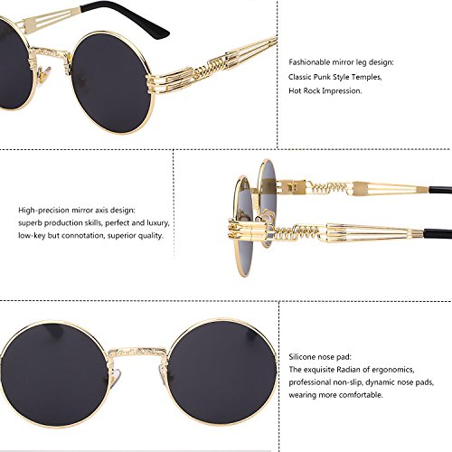 Lens Frame Polarized TEMPO Steampunk for Glasses Gold Driving Black and Metal with Vintage Gold Spring Round Frame Frame Frame Men Women Sunlasses Lens Black P4WP7g0r