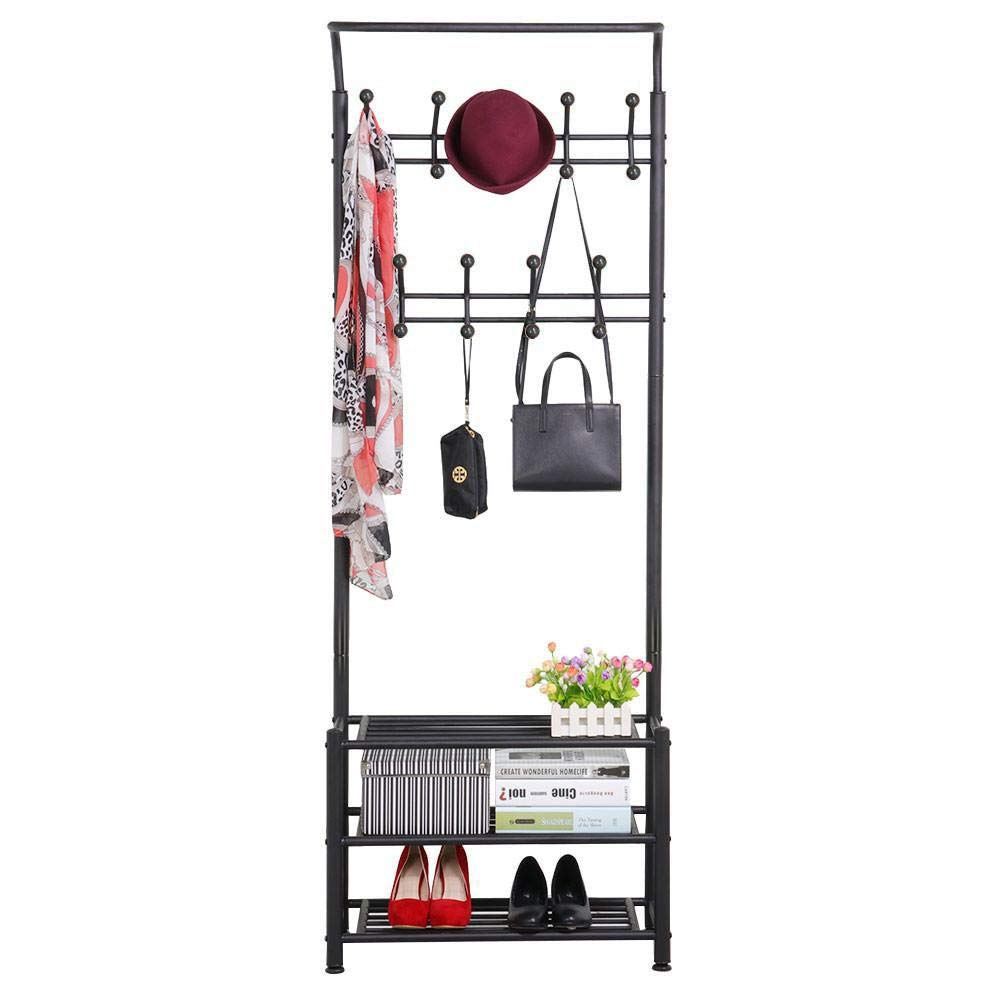 Yaheetech Hall Tree Metal Entryway 18 Hooks Coat Rack with 3-Tier Shoe Rack Bench Hat Umbrella Stand Black by Yaheetech