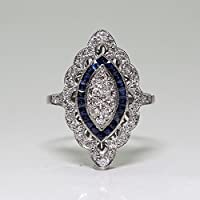 Promsup Vintage Art Deco Silver Blue White Sapphire Wedding Jewelry Ring Size 6-10 (6)