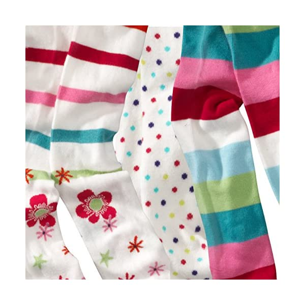 WELLYOU, collant per bambini per bambina, set di 3, calzamaglia ecru, cotone alta quota, taglia 62-146 4