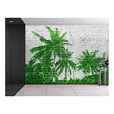 Created By a Professional Artist, Dazzling Work of Art, Green Palm Tree Forest Placed on a Grey Brickwall Wall Mural