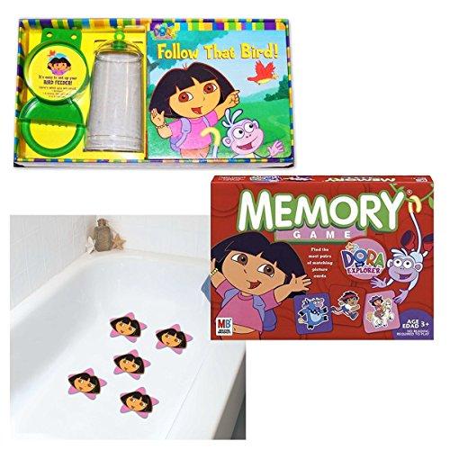 Ginsey Dora - Ginsey Industries, Milton Bradley, Simon Spotlight Nick Jr. Dora The Explorer Game, Bird Feeder Set & Tub Treads Girls Gift Bundle Set of 3 [3 Piece]