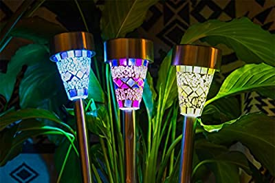 HM-TECH Solar Outdoor Garden Lights Led Path Landscape Lighting Solar Pathway Lights for Lawn Patio Yard Walkway (Stainless Steel) (mosaic)