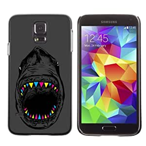 iKiki-Tech Estuche rígido para Samsung Galaxy S5 - Cool Neon Teeth Shark Illustration
