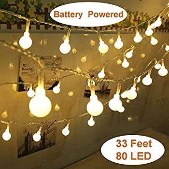 Amazon yesee 33ft 80 leds battery operated led string lights yesee 33ft 80 leds battery operated led string lights outdoor indoor string lights fairy mozeypictures Gallery