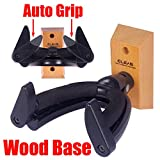GLEAM Guitar Wall Mount Hanger Wood Base fit Classic and Electric Guitars, Bass, Mandolin and Banjo