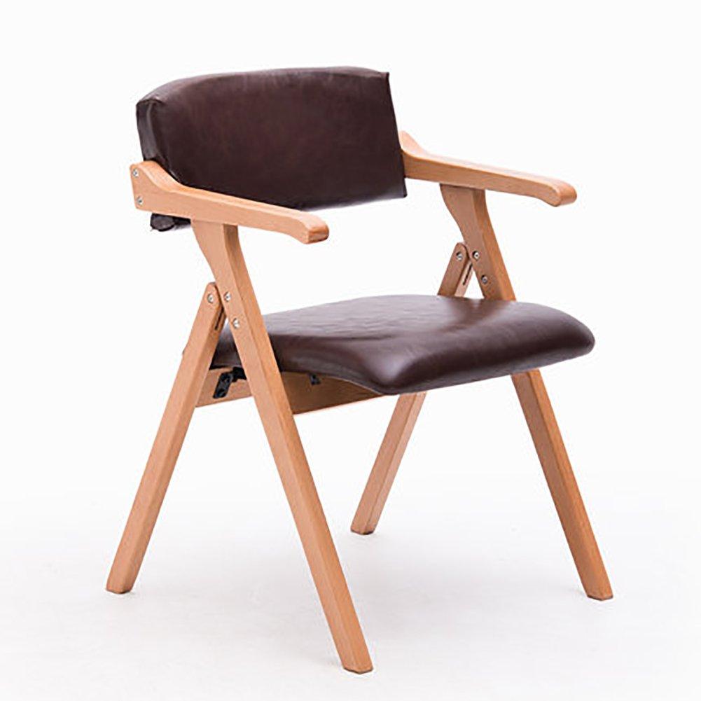 ZJMソリッドウッドダイニングチェアクリエイティブ折り畳み椅子アームチェアラウンジチェアPUレザーシートカバー (色 : C1, サイズ さいず : Set of 2) B07F3WSQGJ Set of 2|C1 C1 Set of 2