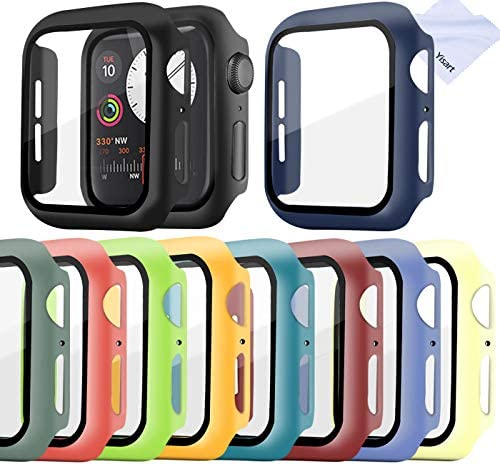 [10 Pack] Screen Protector for iwatch Series 6/5 /4 /SE Screen Protector 40mm, Apple Watch Series 6/5/4/SE 40mm 10-Colors Case Tempered Glass Screen Protector 40mm Bumper Case (40mm)