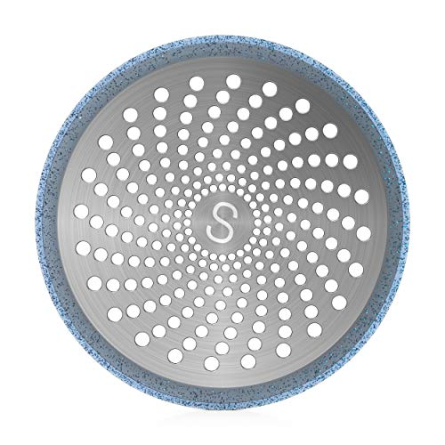 STAN BOUTIQUE Drain Hair Catcher/Strainer/Trap/Stopper/Cover | Shower Stall Drain Protector - Stainless Steel and Silicone, 4.7 Inches - Blue