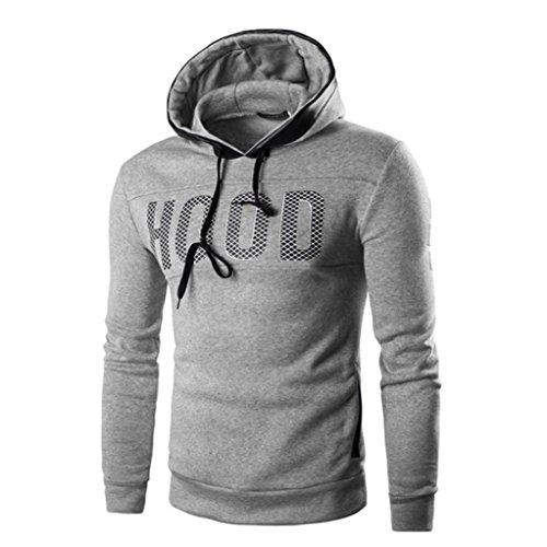 Garter Coat Set (Han Shi Hoodies Coat, Men Hood Print Winter Slim Warm Pullover Sweatshirt Outwear Tops (L, Grey))