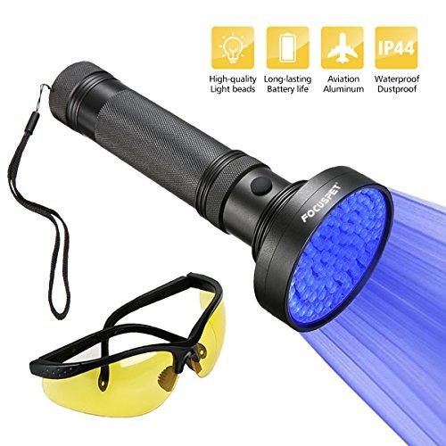 UV Flashlight Black Light, Focuspet 100 LED Handheld Blacklight With UV Sunglasses, Pet Dog Cat Urine Stain Detector Torch Light, Money Scorpion Detector Finder Stains on Carpet Rugs For Home Hotel