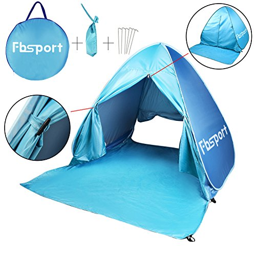 Fb-Sport Portable Light-Weight Beach Tent, Automatic Pop-up Sun Shelter Umbrella, Outdoor Cabana Beach Shade with UPF 50 Plus Sun Protection, Blue by FBSPORT