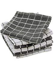 """DII 100% Cotton, Machine Washable, Ultra Absorbant, Basic Everyday 12 x 12"""" Terry Kitchen Dish Cloths, Windowpane Design, Set of 6- Gray"""