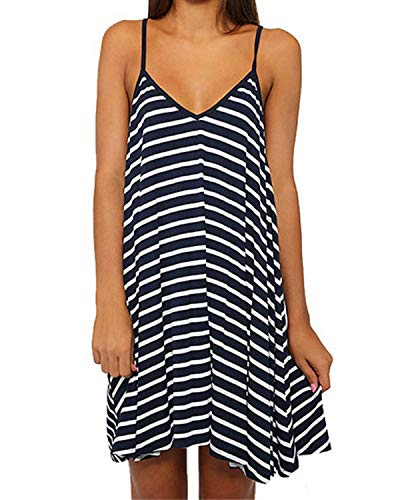 (Kenoce Women's Summer Sleeveless Striped Dress V-Neck Halter Straps Blackless Loose Casual Beach Sundress Mini Dresses Navy XXL)