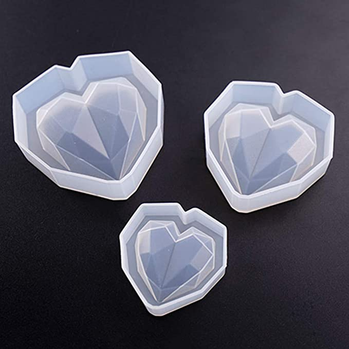 Baiyao 6Pcs 3D Heart Diamond Heart Silicone Resin Moulds for Jewellery Making,Jewelry Casting Mold for Resin DIY Craft