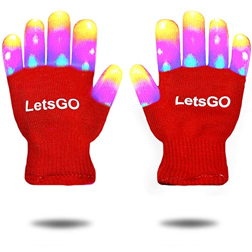 Birthday Gifts Presents for Boys Girls, Tisy LED Flashing Gloves Hot New Party Favors Great Fun Toys for 3-12 Year Old Girls Red TSUSHG003 -