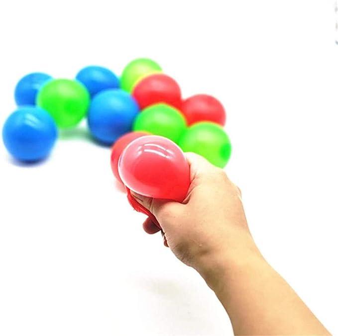 Bolas de Objetivo pegajosas Fluorescentes,///Paquete de 4/Bolas/de Juguete antiestr/és pegajosas Que se Pueden Pegar///al Techo