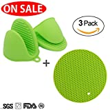 silicon pot holder set - 2 Pcses Heat Resistant Silicone Mini Cooking Oven Mitts Glove for Kitchen, BONUS/1 Set Silicone Potholder Hot Pads, Silicone Pinch Grip and Pot Holder Set for Kitchen, ON SALE