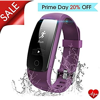 Fitness Tracker with Heart Rate Monitor, Runme Activity Tracker Smart Watch with Sleep Monitor, Waterproof Walking Pedometer Band with Call/SMS Remind for iOS/Android Smartphone (Purple)