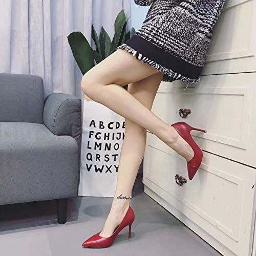 High Pointed Female heels Black Yukun Heel 39 Fine Red Women'S Shoes High Wild Shallow With Shoes Mouth Work Autumn Black Single P585tq