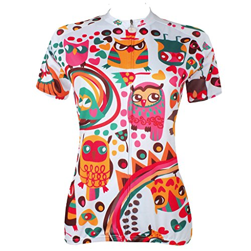 QinYing Cute Cartoon Animals Colorful Short Sleeve Outdoor Bicycle Cycling Jersey L