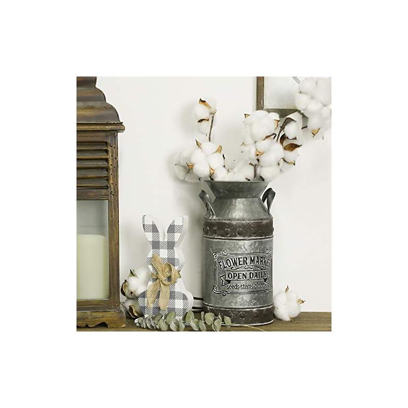 "Putuo Decor Rustic Galvanized Milk Can, Vintage Flower Vase, Primitive Country Farmhouse Home Decor, 5"" W, 10"" H"
