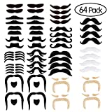 Self Adhesive Fake Mustache Novelty Mustaches Costume,Halloween Festival Party,Masquerade Party Performance,Party Supplies(64 pcs)