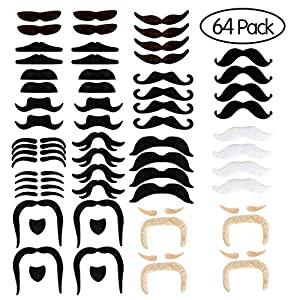 SOTEN Self Adhesive Fake Mustache Novelty Mustaches Costume,Halloween Festival Party,Masquerade Party Performance,Party Supplies(64 pcs)