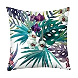 Flowers Leaves Throw Pillow Cases Pgojuni Cushion Cover Polyester Pillow Cover 1pc 45cmx45cm (D)