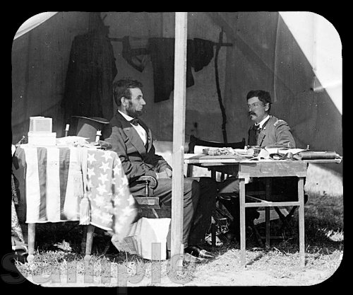 Mouse Pad; President Abraham Lincoln And General George B. Mcclellan In The General'S Tent Near The Antietam Battlefield, October 3, 1862. Photograph By Alexander (Battlefield Photograph)