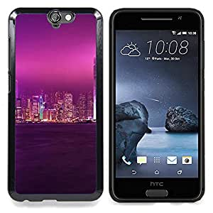 PURPLE GLOW CITY SKY Caja protectora de pl¨¢stico duro Dise?ado King Case For HTC ONE A9