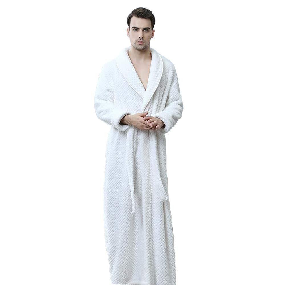 9587c85f44 Bathrobe Men Dressing Gown Towelling Terry Fluffy Boy Luxury Long Plus Size  Pyjamas For Spa Bath (Color   White