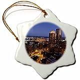 3dRose MA, Boston, Financial District, Marriott Hotel - US22 WBI0750 - Walter Bibikow - Snowflake Ornament, Porcelain, 3-inch (orn_91041_1)