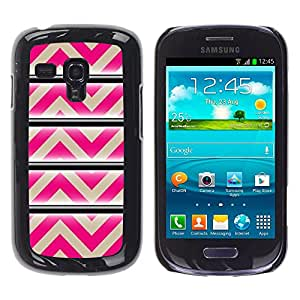 For Samsung Galaxy S3 III MINI (NOT REGULAR!) / I8190 / I8190N Case , Pattern Pink Beige Lines Abstract - Diseño Patrón Teléfono Caso Cubierta Case Bumper Duro Protección Case Cover Funda