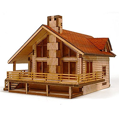 Desktop Wooden Model Kit Garden House A with a large deck by YOUNGMODELER by Young Modeler]()