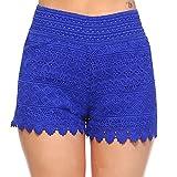 Fashionazzle Women's Casual Summer Beach Shorts Solid Lace Shorts (Medium, LS01-Royal)