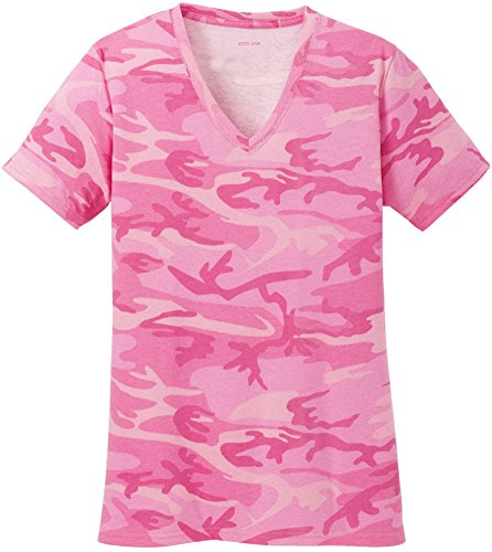 Joe's USA Ladies Camo V-Neck Tees V-Neck T-Shirt-Pink - Camouflage Pink Womens