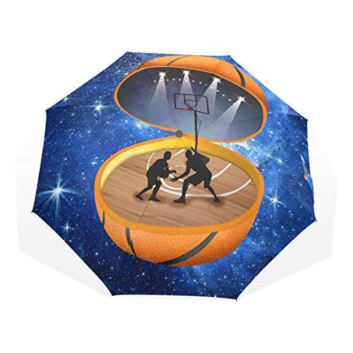 XiangHeFu Umbrella Sports Abstract Basketball Stadium Auto Open Close 3 Folds Lightweight Anti-UV