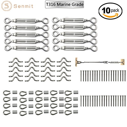 Post Railing Kit (Senmit 10-pack Cable Railing Kits, 1/8 Heavy Duty 316 Stainless Steel cable railing hardware, for Wood Posts, DIY Balustrade, with Jaw Turnbuckles Installation Guide)