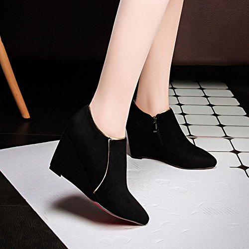 Black Wedge Pointed Spring Latasa Toe Dress Boots Heel Faux Suede Fall Fashion Ankle Mid Womens 64n4F