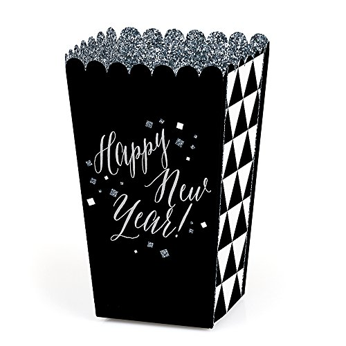 New Year's Eve - Silver - New Years Eve Party Favor Popcorn Treat Boxes - Set of 12