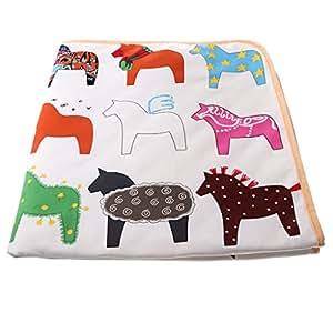 HOMYL Cartoon Horse Square Mat Rug Play Crawling Rugs Soft Yoga Mat for Baby Children Bathroom Play Tent Floor Non-slip Carpet Home Decor(1.2m*1.2m)