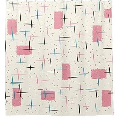 Zzdreamzz Retro Atomic Pink Pattern Waterproof Fabric Polyester Bathroom Shower Curtain 60 (W) X 72 (H)