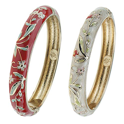 (UJOY Fashion Cloisonne Jewelry Bangles Bracelets Flower Enamel Bangle Sets Gift Box for Women 55A119 Wine red)