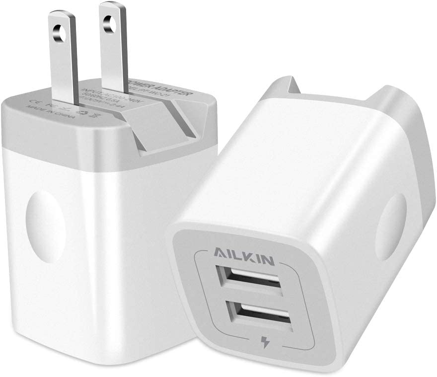 USB Wall Charger, Foldable Charger Adapter, Ailkin 2Pack 2.4Amp Dual Port Quick Charger Plug Cube Replacement for Phone 11Pro Max/X/XS/XR/8/7/6S Plus, Samsung Galaxy S10/S9/S8 Edge, LG, HTC, Kindle